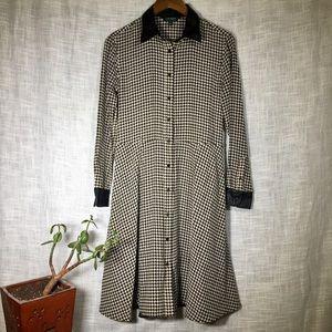 LRL Houndstooth Shirt Dress Vegan Leather Silk